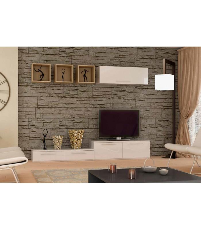 Muebles bajos tv mueble tv meteorite huecos u cajones mdf for Muebles de oficina low cost