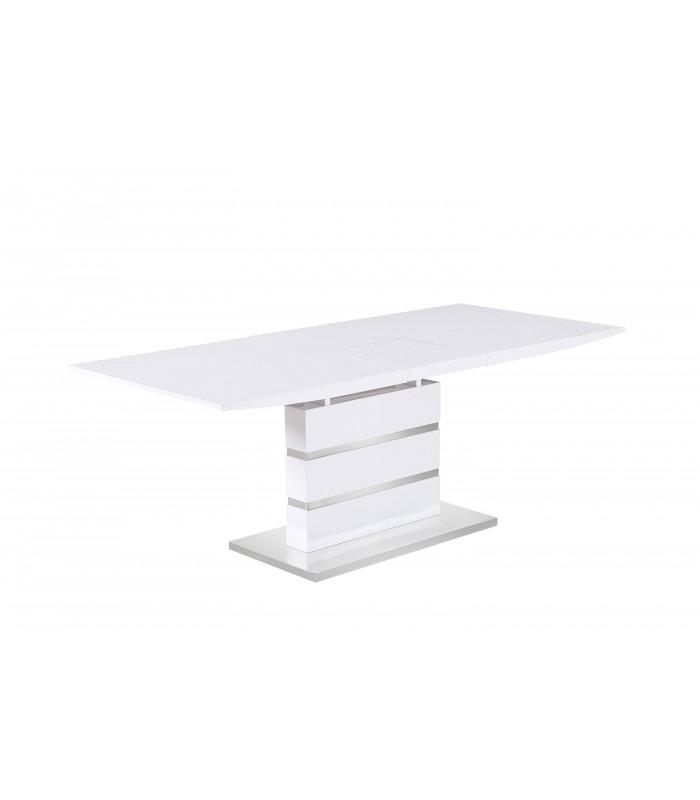 Mesa sal n markab extensible blanco brillo base cromada - Mesa salon extensible ...