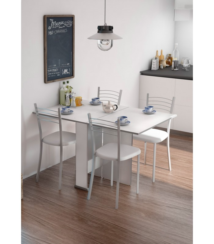 Mesa swing alas abatibles blanco canto gris for Mesa comedor abatible