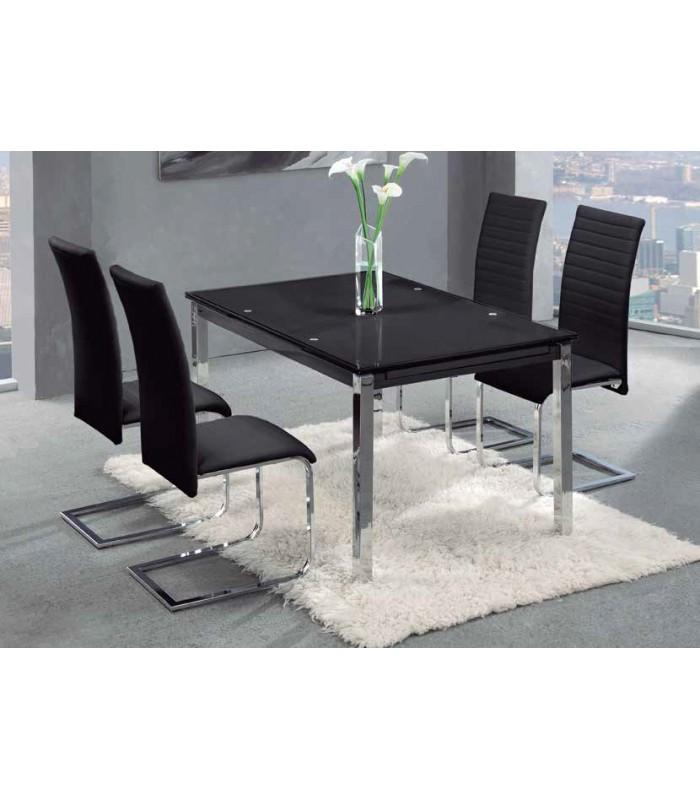 Mesa extensible sal n cromado cristal negro for Mesa salon extensible