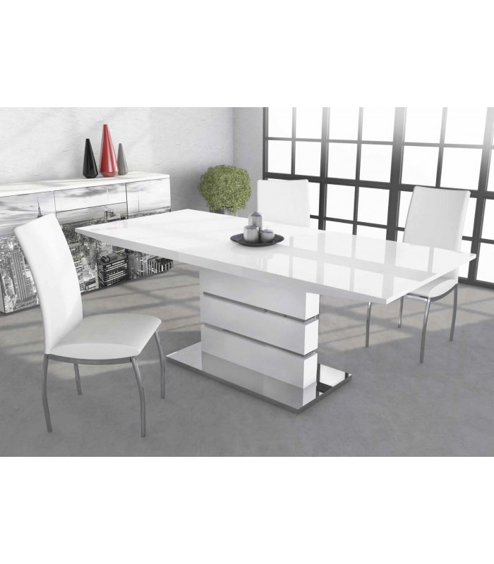 Mesa sal n markab extensible blanco brillo base cromada - Mesa extensible salon ...