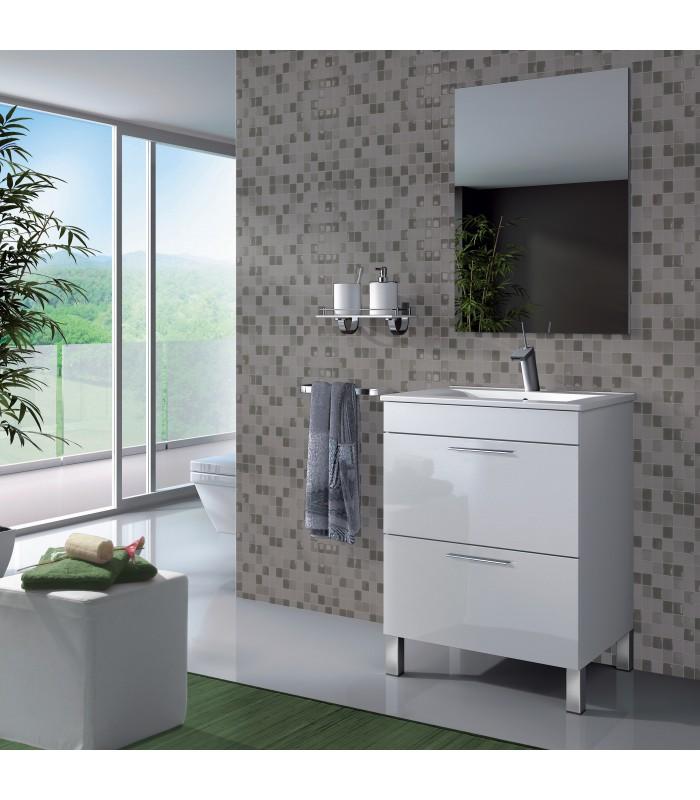 Mueble lavabo 1 puerta abatible 1 caj n espejo for Mueble 2 puertas blanco