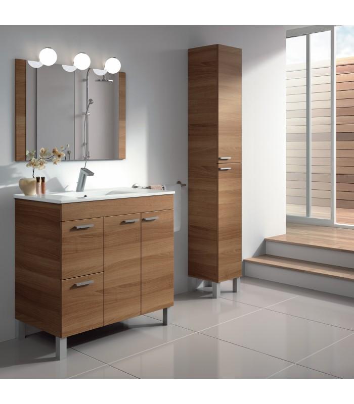 Mueble lavabo 80 2 puertas 2 cajones espejo lavabo for Mueble mas lavabo