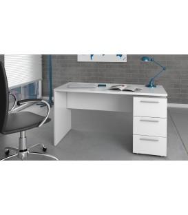 THEON Mesa despacho 3 Cajones,acabado Blanco Brillo