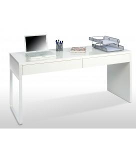 BIANCA Mesa escritorio (reversible) con 2 Cajones,acabado Blanco Brillo